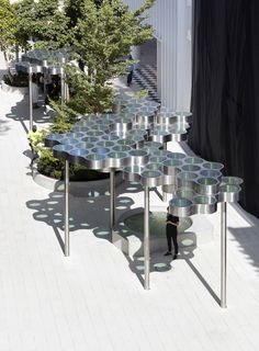Bouroullec brothers insert cloud-like canopy into Miami Design District Backyard Canopy, Garden Canopy, Pergola Canopy, Canopy Outdoor, Canopy Tent, Baby Canopy, Door Canopy, Fabric Canopy, Pergola Roof