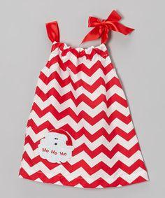 Look what I found on #zulily! Red & White Santa Chevron Swing Dress - Infant, Toddler & Girls #zulilyfinds