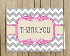 Trendy Gray with Pink Chevron Thank You Card, Birthday, Shower, Graduation, Every Day, Custom Digital File, Printable. Pink Poppy Design, via Etsy.