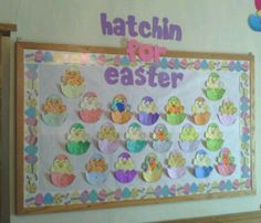 Easter bulletin board Easter Bulletin Boards, Holiday Bulletin Boards, Spring Bulletin Boards, Preschool Bulletin Boards, Easter Arts And Crafts, Spring Crafts, Nursery Display Boards, Sunday School Decorations, Bullentin Boards