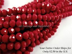 75 Red Opaque Glass Beads Faceted Rondelle Abacus 4x3mm - 75 pc - G6063-RD75 by allearringsandsuppli on Etsy