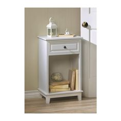 PORTVIEW SIDE TABLE A classic shape and just the right amount of detail makes this side table a beautiful addition to any room. The pretty pullout drawer features a metal pull knob, and below you'll find the perfect spot for books and more!  Materials: WOOD - MDF WOOD