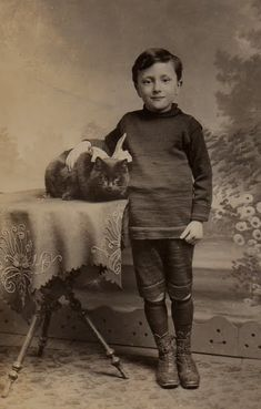Vintage Boy with his cat
