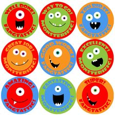 144 Monster Smiles Praise Words 30mm Children's Reward Stickers for Teachers or…