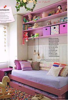 Bicama com nichos superiores, cor rosa quarto menina bonecas cavalo de pau