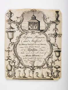 Copper-engraved trade card publicising the glassware firm of Hopton Hanson and Stafford, located at Whitefriars [White Fryer's] Glass House, near Fleet Street, London. 1759