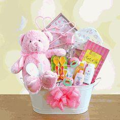 My First Teddy Baby Girl Gift Basket $79.95 #storkbabygiftbaskets  #storkbabygifts