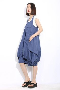 19d443b567d7 Lagenlook pants quirky clothing blue linen pants baggy Dungarees