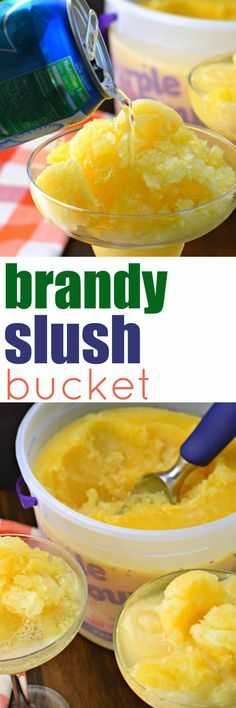 This sweet and boozy Brandy Slush is the perfect drink to make in advance and keep it frozen until ready to serve!