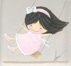 Aida Zamora - Art for kids. Custom paint. Cuadro infantil personalizado. Columpio. swing