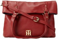 Bolsa Tommy Hilfiger Back To Cool Pebble Foldover Tote Cross Body Bag Red #Tommy Hilfiger#Bolsa