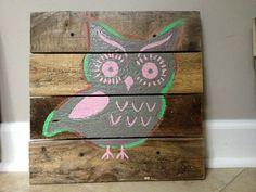 Owl 20x20Rustic Wall ArtOwl decornursery by RusticTreeHouse, $64.99