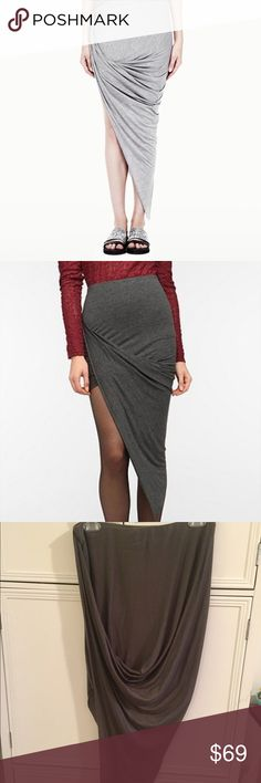 Helmet lang gray classic asymmetrical skirt sz s Dark gray size small. Looks sexy af on I turn heads in the neighborhood in this one Helmut Lang Skirts Asymmetrical