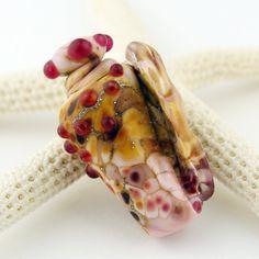 SRA Lampwork Glass Bead Pink Sea Shell by StoneDesignsbySheila