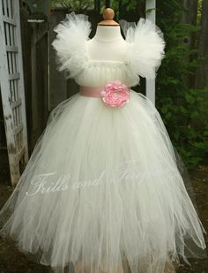 Ivory Flower Girl Tutu Dress with Light Pink Flower Sash and Flutter Sleeves by Frills and Fireflies, $95.00