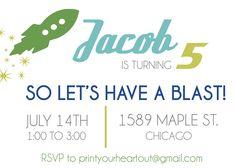 Printable Rocket Ship Birthday Invitation by PrintYourHeartOut. $9.50 USD, via Etsy.