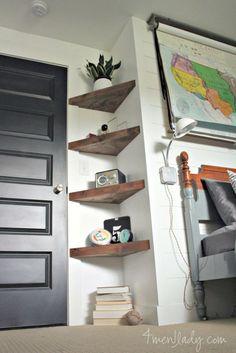 Shelves | corner shelves | apartment living | apartment decor | college | college grad | dorm | dorm decor | tiny space | living in a tiny space