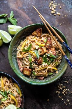 Better Than Takeout 20 Minute Peanut Noodles with Sesame Halloumi ; asian ; vegetarian ; mango
