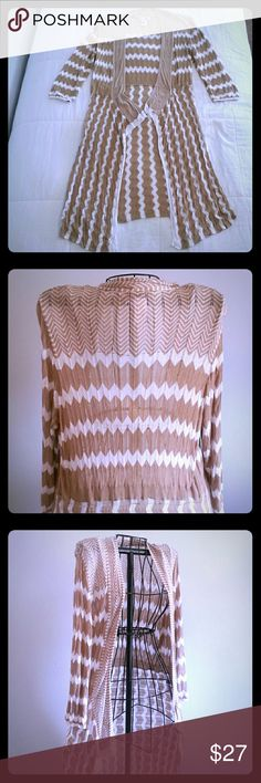 """ATTITUDES BY RENEE Light weight sweater duster with cascading fabric flow. 100% rayon. Tan & white  great shape & perfect for Spring!  Pit to pit 20"""" Shoulder to hem 40"""" This is a QVC designer. ATTITUDES BY RENEE Sweaters"""