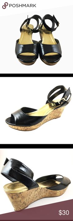 Black Patent Leather, Cork Wedges, size 11 Apostrophe brand black patent leather like material, Cork wedge, gold hardware, non slip bottom, worn a couple times, very comfortable. Wedge is 3 inches tall. Size 11, run wide Apostrophe Shoes Wedges
