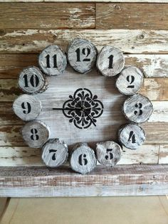 A wall clock made out of scrap wood