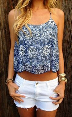 Blue and white print top fashion summer hipster shorts style boho indie cutoffs preppy aztec