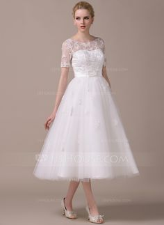 A-Line/Princess Scoop Neck Tea-Length Tulle Wedding Dress With Appliques Lace Bow(s) (002059206) - JJsHouse