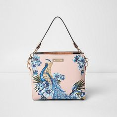 Smooth fabric outer Peacock print Removable cross body strap Underarm handle with chain detail Rose gold tone hardware RI branding Height 23cm, width 28cm, strap length 57cm