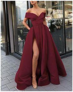 Stunning Prom Dresses, Pretty Prom Dresses, Homecoming Dresses, Graduation Dresses, Dress Prom, Burgundy Prom Dresses, Dress Long, Ball Gown Prom Dresses, Long Dress With Slit