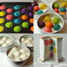 take cake pop balls and cook them inside a round cake for a poka dot surprise. see website for directions. http://once-upon-a-pedestal.blogspot.com/2012/05/polka-dot-cake-from-bake-pop-pan.html