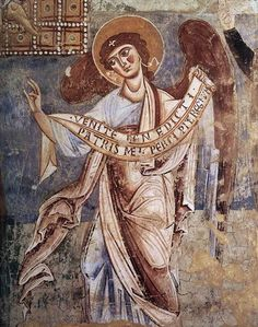 Mythological - Angel of the Last Judgment, Romanesque mural painting Sant'Angelo, Formis. Religious Icons, Religious Art, Fresco, Romanesque Art, Art Roman, Angel Artwork, Carolingian, I Believe In Angels, Ange Demon