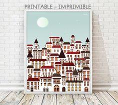laminas decorativas, laminas ciudades, laminas casas, ilustracion digital, laminas imprimibles, cuadro casas, casas imprimibles