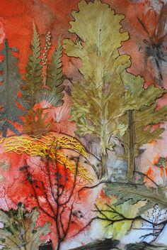 Красный закат, флористический коллаж в технике декалькомания, 2012 г. (природный материал, гуашь, акрил)