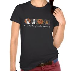 Colorful Cartoon Cavalier King Charles Spaniels Tee Shirts #funny #tshirt