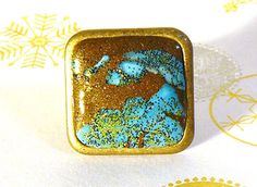 Bague carrée réglable en métal couleur bronze et argile polymère couleur bronze kaki et bleu vert : Bague par commeilvousplaira