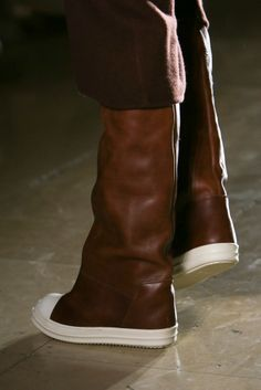 Brown leather white sole knee high sneaker boots. Rick Owens, Menswear, RTW  FW f6dd8a10af