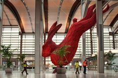 """Lawrence Argent's giant aluminum rabbit, titled """"Leap"""" in Sacramento airport Terminal B. Where is he leaping into? A giant granite suitcase below. Rabbit Sculpture, Sculpture Art, Sacramento Airport, Rabbit Art, Giant Rabbit, Giant Bunny, Big Bunny, Airport Design, Art For Art Sake"""