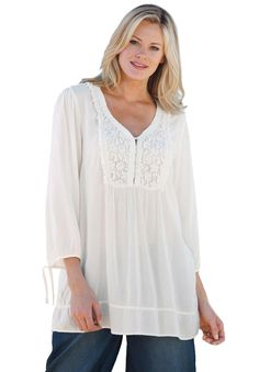Blouse, crocheted bib, by Ellos® | Plus Size Shirts & Blouses | Woman Within