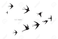 Swallow flying formation for wirework silhouettes
