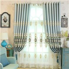 Light Blue High Quality Chenille 2 Pieces Decorative and Breathable Sheer Drapes Sheer Drapes, Decor, Navy Blue Curtains, Home Textile, Curtains, Blue Curtains Living Room, Sheer Curtain, Light Blue Curtains, Curtains For Sale
