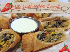 Chili's Southwestern Eggrolls- a homemade twist on the restaurant favorite Crispy flour tortillas stuffed with juicy grilled chicken, black beans, corn, jalapeño Jack cheese, chopped red peppers & spinach. Chilis Copycat Recipes, Chilis Restaurant Recipes, Copy Cat Restaurant Recipes, Chili Recipes, Southwest Egg Rolls, Chile, Egg Roll Recipes, Muffin Recipes, Appetizers