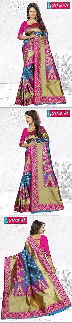 Sari Saree 155250: Pink Blue Designer Bollywood Jacquard Border Sari Banarasi Silk Party Wear Saree -> BUY IT NOW ONLY: $62.95 on eBay!