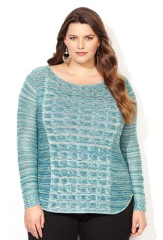 Marled Cable Bodice Pullover Sweater-Plus Size Sweater-Avenue