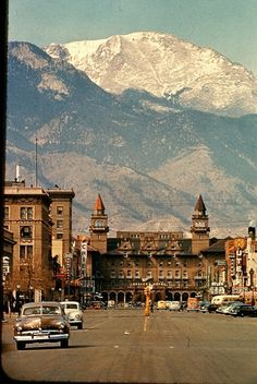 Downtown Colorado Springs with Pikes Peak, Antlers Hotel, Ute & Chief Theaters