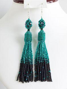 Emerald Night. Handmade seed beaded Long shining Tassel Oscar Earrings юа #Handmade #DropDangle