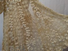 Antique Edwardian 1900 Ivory Irish Crochet Lace Jacket Hand DONE Size M L | eBay
