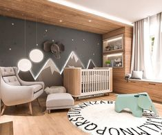 Baby Room Inspiration Illuminated Mountains The post Baby Room Inspiration Illuminated Mountains appeared first on kinderzimmer. Baby Boy Rooms, Baby Bedroom, Baby Room Decor, Baby Boy Nurseries, Kids Bedroom, Baby Nursery Ideas For Boy, Nursery Room Ideas, Baby Room Furniture, Room Baby