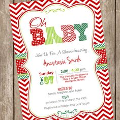 Attractive This Listing Is For A DIGITAL Invitation File   4x6 Or 5x7   That You Print  · Christmas Baby ShowerChevron ...