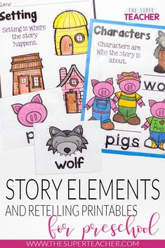 Three Little Pigs Story Elements and Story Retelling Worksheets Pack Kindergarten Reading, Kindergarten Worksheets, Kindergarten Classroom, Literacy Activities, Teaching Reading, Writing Worksheets, Physics Classroom, Kindergarten Science, Preschool Printables