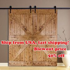 New 10FT Country Double Wood Sliding Barn Door Hardware Rustic Track Kit Black